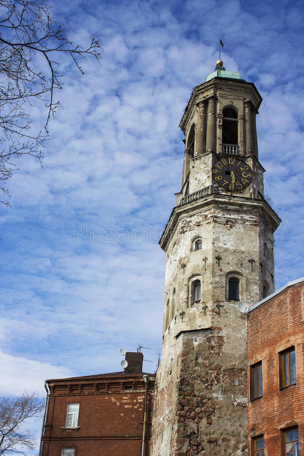 Clock tower in Vyborg royalty free stock image