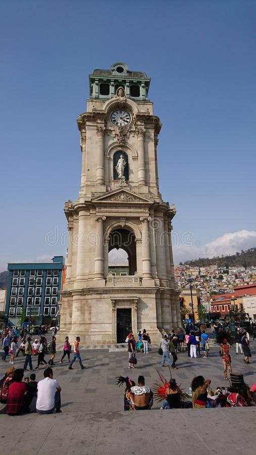 Pachuca`s Clock Tower. This Clock tower was built at 1910 at Pachuca`s downtown. It is located at Mexico and it is one of the popular atractions of the city of royalty free stock photos