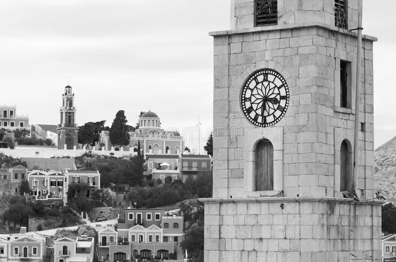 Detail of clock tower on Symi island royalty free stock photography