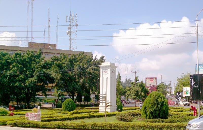Clock town in Arusha. Clock town in tanzanian town of Arusha stock photos