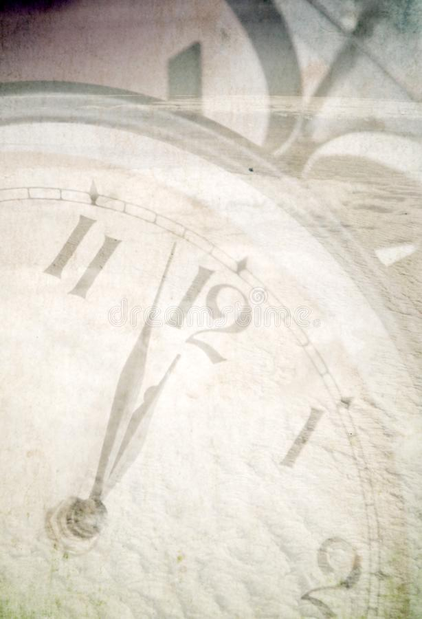 Clock under snow stock image