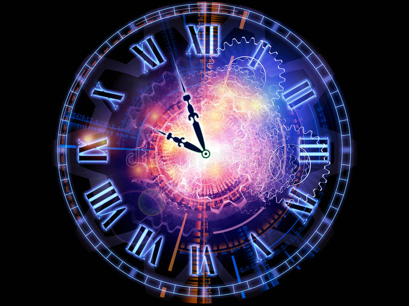 Clock universe. Interplay of clock hands, gears, lights and abstract design elements on the subject of time sensitive issues, deadlines, scheduling, temporal royalty free illustration