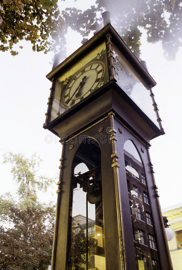 Clock- Vancouver, Canada. Gastown Steam Block on corner of Water & Cambie St. near downtown Vancouver- British Columbia, Canada royalty free stock images