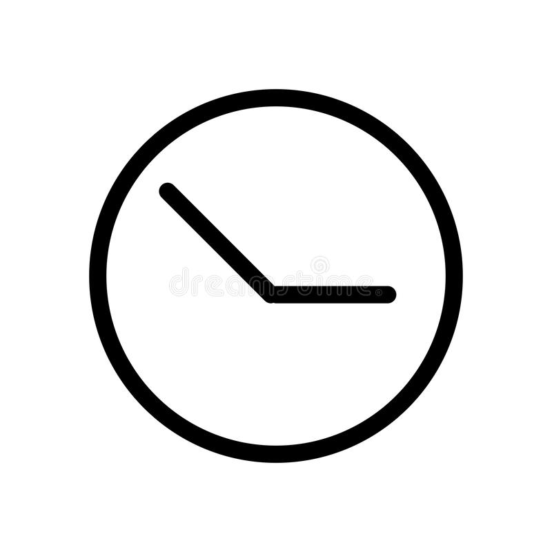 Clock vector icon. Black and white clock illustration. Outline linear time icon. stock illustration