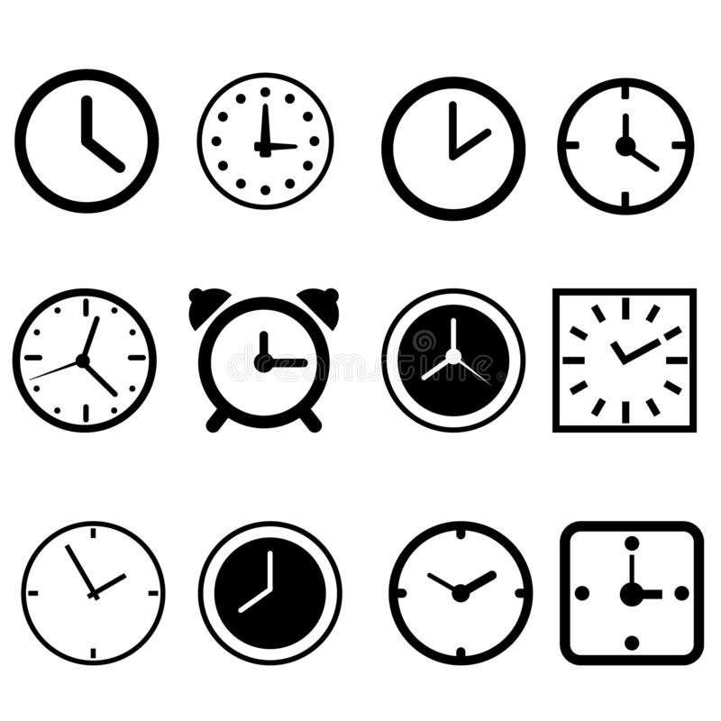 Clock vector icons set. Clock icon. Watch illustration symbol collection. Time sign or logo. royalty free illustration