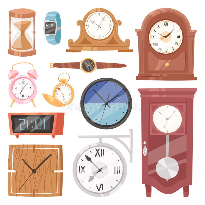 Clock vector watch with clockwork and clockface or wristwatches clocked in time with hour or minute arrows illustration stock illustration