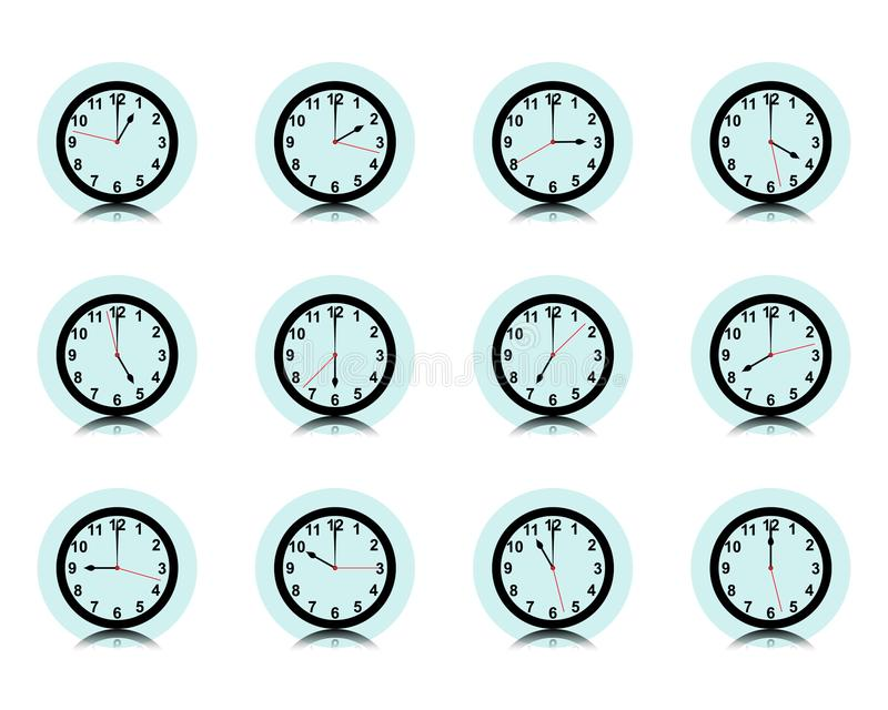 Clock wall collection, timer icon set, Vector. Illustration royalty free illustration