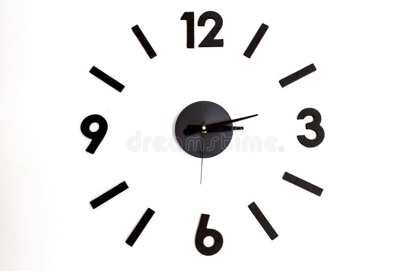 Clock wall. Decoration clock wall on white wall stock image