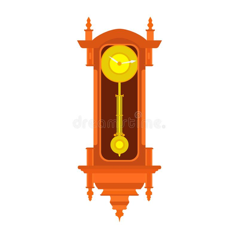 Clock wall vector pendulum old antique time illustration. Vintage retro isolated royalty free illustration