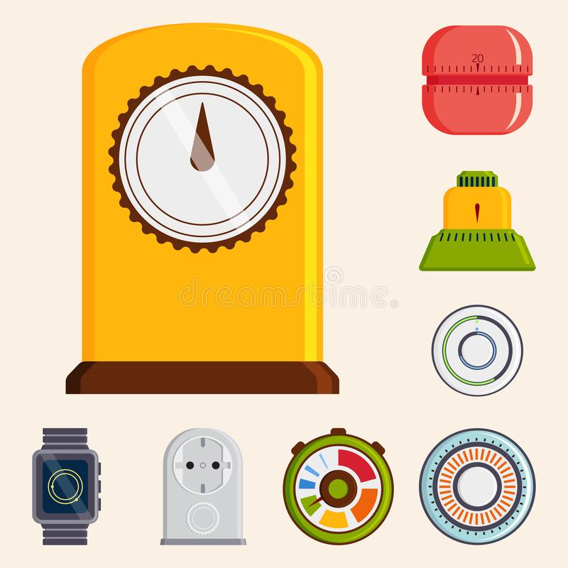 Clock and watches vector timer colorful measurement tools number digital information stopwatch illustration stock illustration