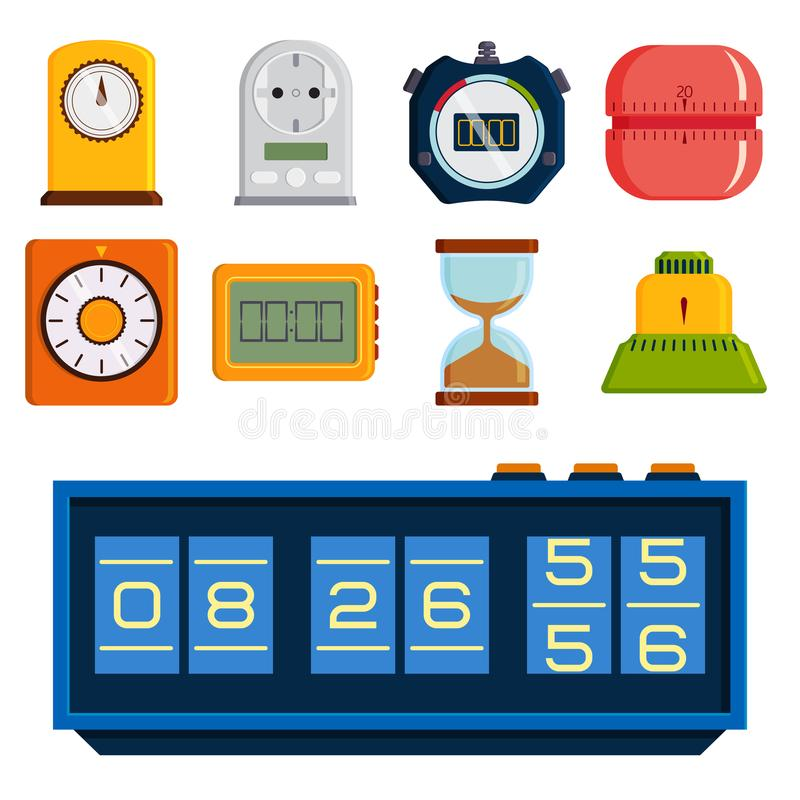 Clock and watches vector timer colorful measurement tools number digital information stopwatch illustration royalty free illustration