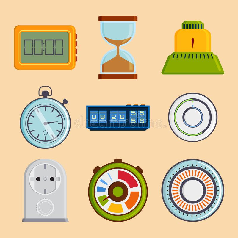Clock and watches vector timer colorful measurement tools royalty free illustration