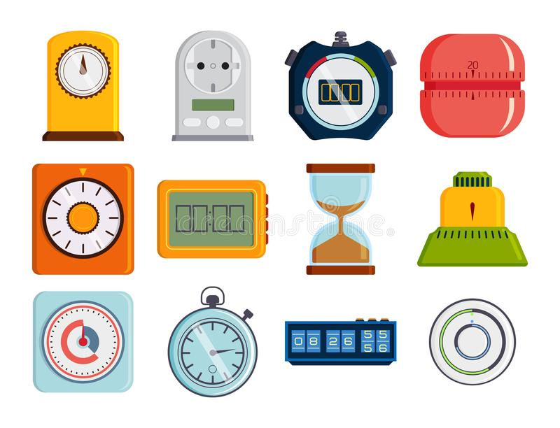 Clock and watches vector timer colorful measurement tools stock illustration