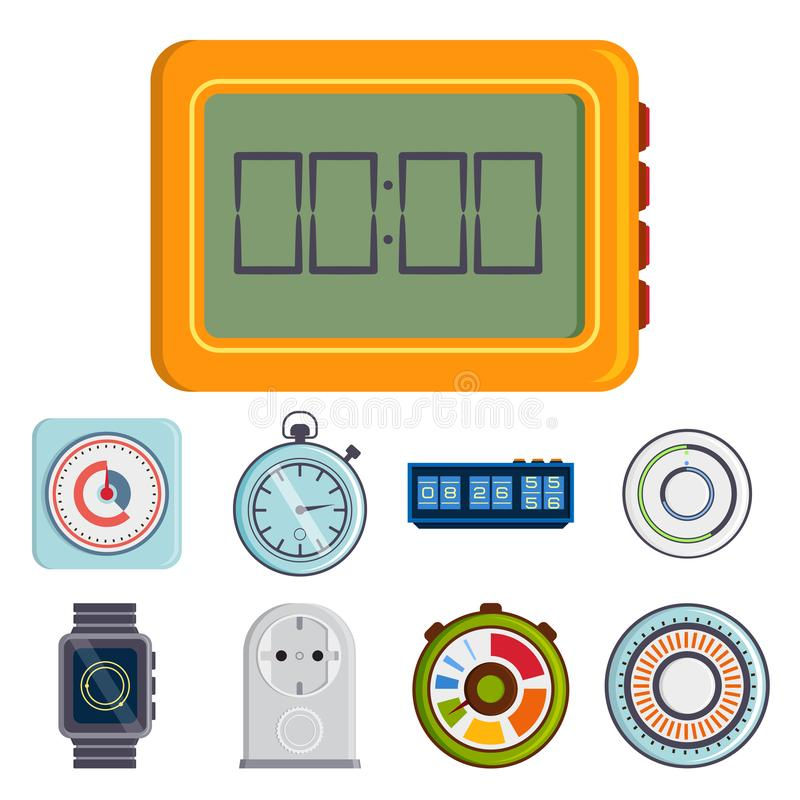 Clock and watches vector timer colorful measurement tools number digital information stopwatch illustration vector illustration
