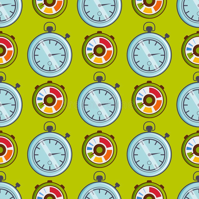 Clock watches vector timer seamless pattern measurement tools number digital information stopwatch illustration royalty free illustration