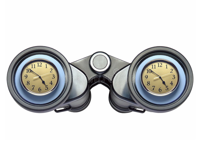 Clock Watching. A pair of binoculars with a wall clock (showing close to five-o-clock) apparently reflected in the lenses. Isolated over pure white stock photos