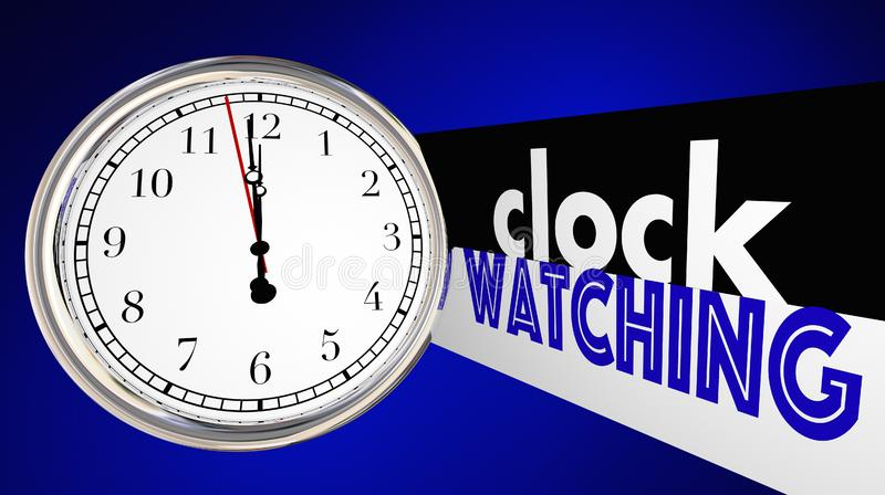 Clock Watching Bored Slow Time Passing Words stock illustration