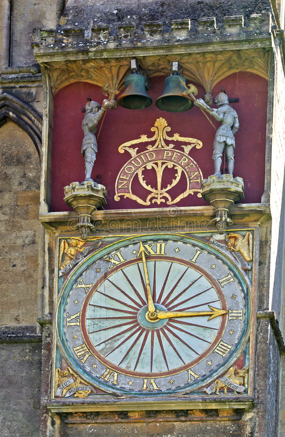 Clock - Wells Cathedral royalty free stock image