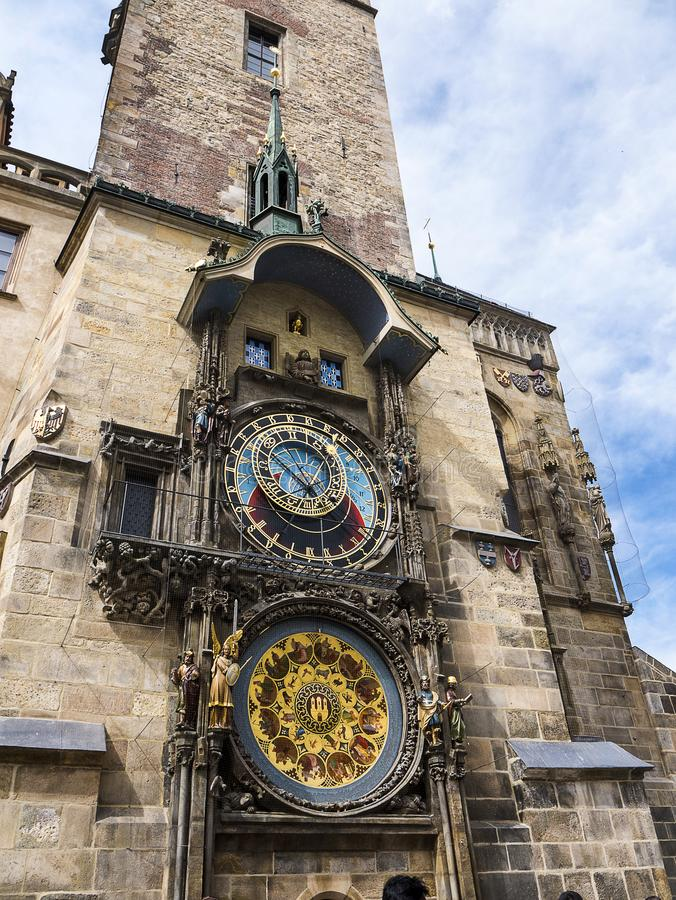 The Prague Astronomical Clock is a medieval astronomical clock.The Clock is mounted on the southern wall of Old Town City Hal royalty free stock photos