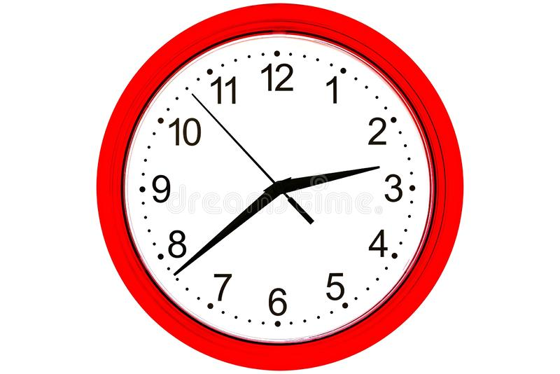 Clock on a white background stock photography
