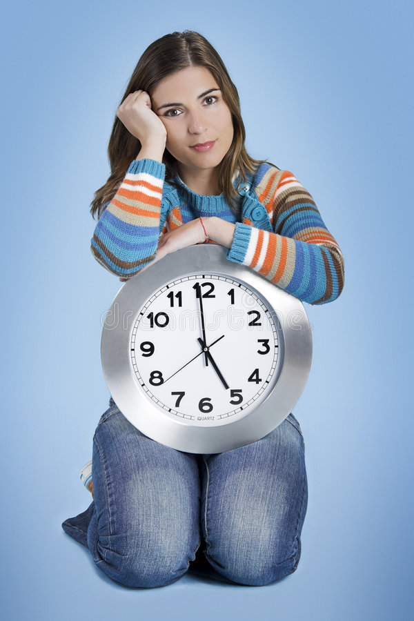 Download Clock Woman stock photo. Image of face, financial, person - 2161998