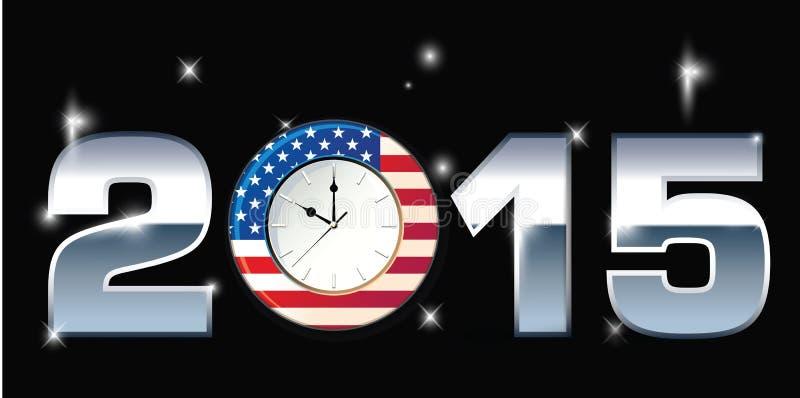 Clock with Words 2015. Illustration stock illustration