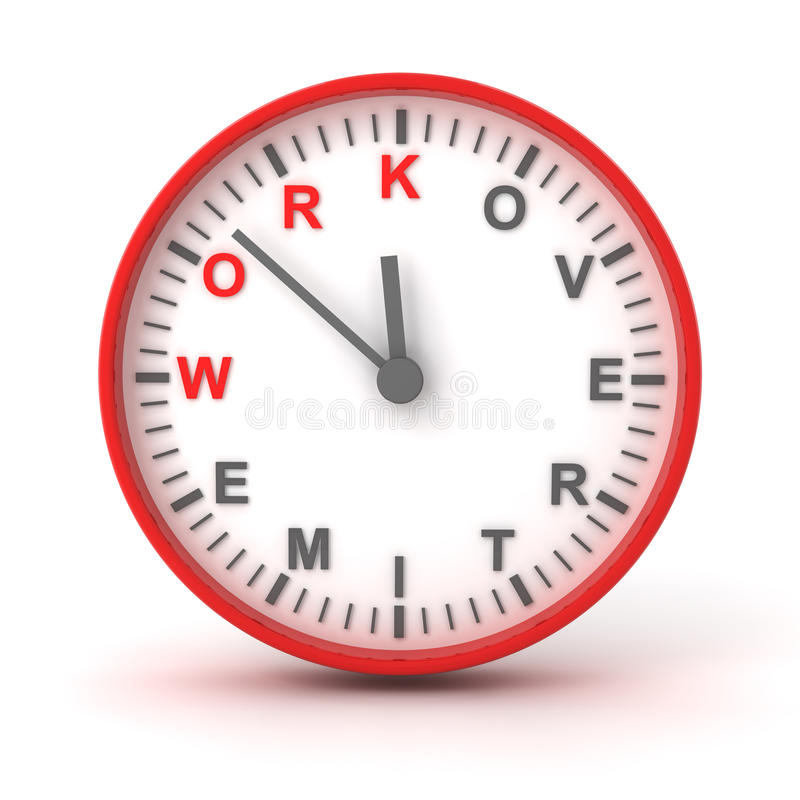 Clock with work overtime text, 3d render royalty free illustration