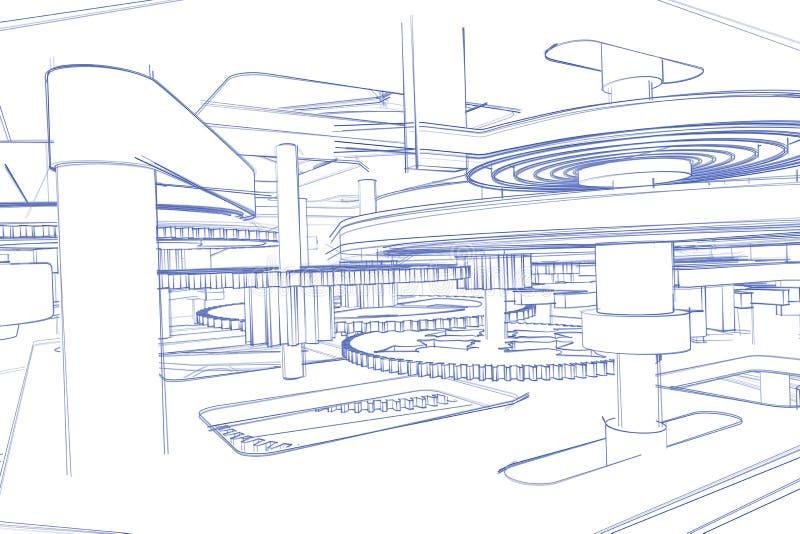 Clock workings sketch royalty free illustration