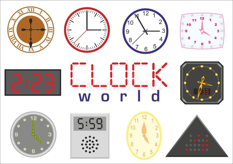 Clock world. Set of clocks. Digital clock as well as analog royalty free illustration