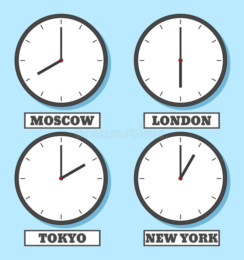 Clock-03. World time. The clock shows the time in four capitals. Vector illustration in flat style royalty free illustration