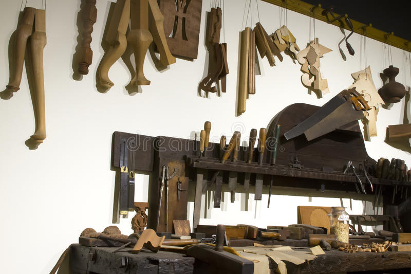 Clockmaker Tools and Workbench. Workbench with clockmaker tools and components stock photos