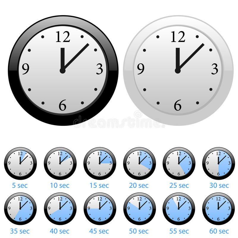 Clocks. Set of the clocks in white and black styles vector illustration