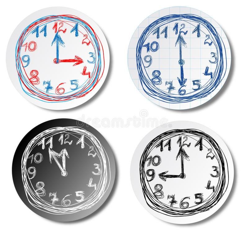 Clocks. Four hand drawn clock dials, stickers isolated on the white background stock illustration