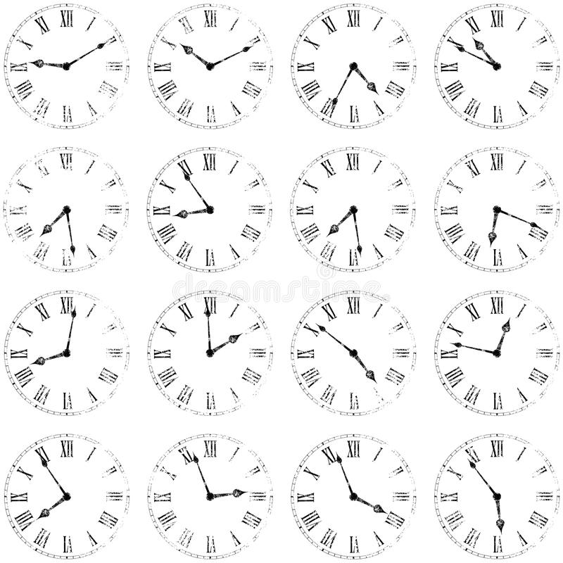 Clocks background. Background with isolated vintage grungy clocks. eps8 royalty free illustration