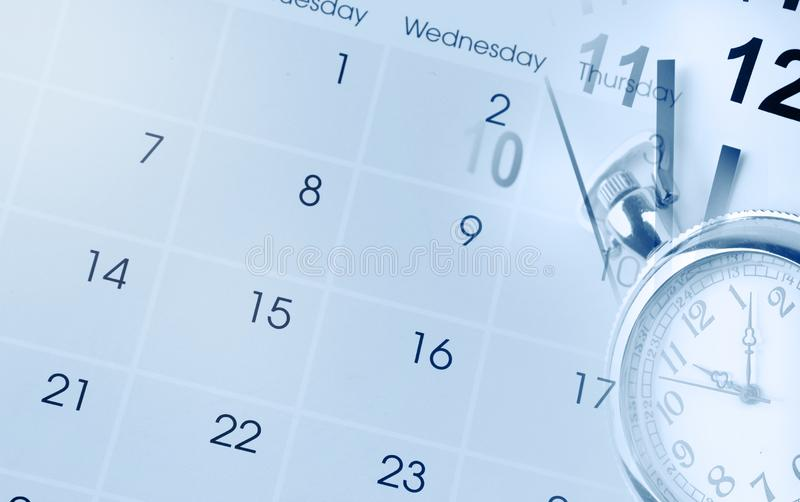 Clocks and calendar stock photos