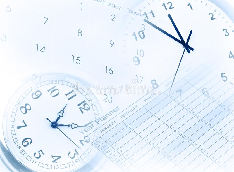 Clocks, calendar and year planner stock photos