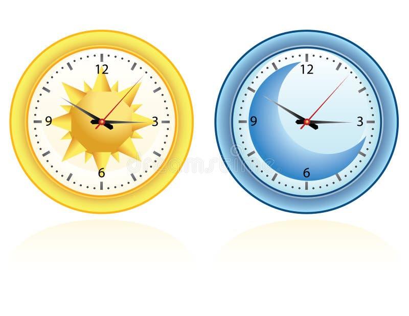 clocks dagnatt vektor illustrationer