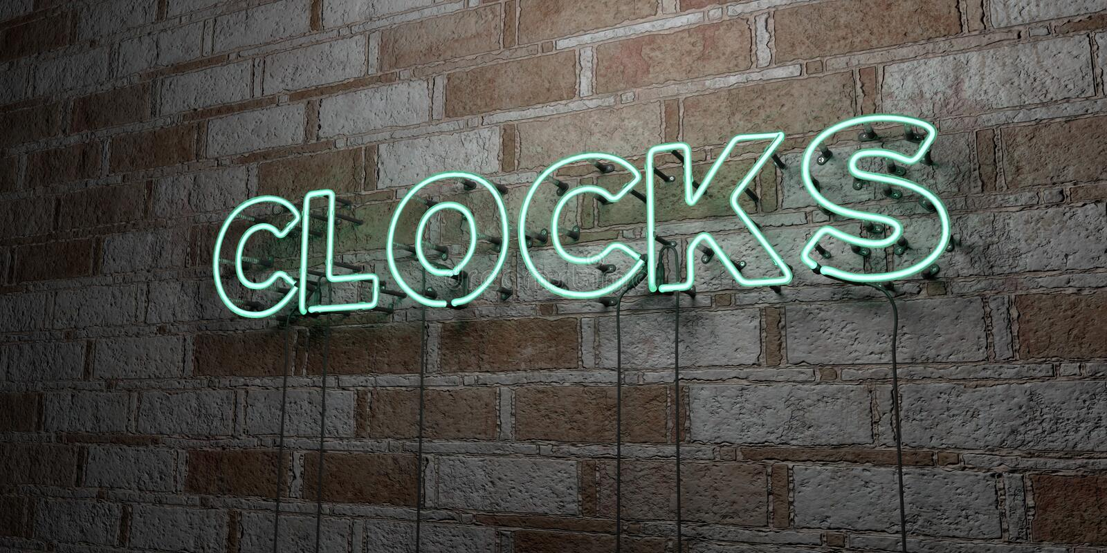 CLOCKS - Glowing Neon Sign on stonework wall - 3D rendered royalty free stock illustration. Can be used for online banner ads and direct mailers vector illustration