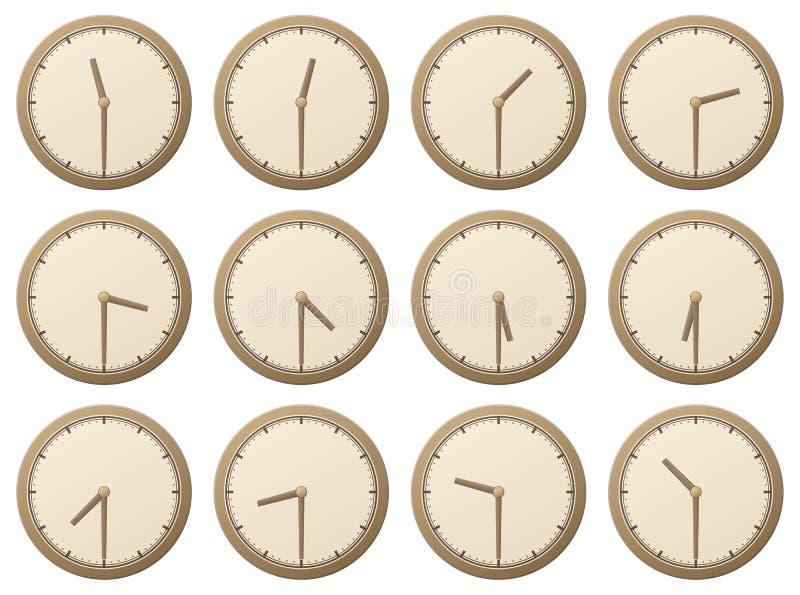Clocks, half an hour vector illustration