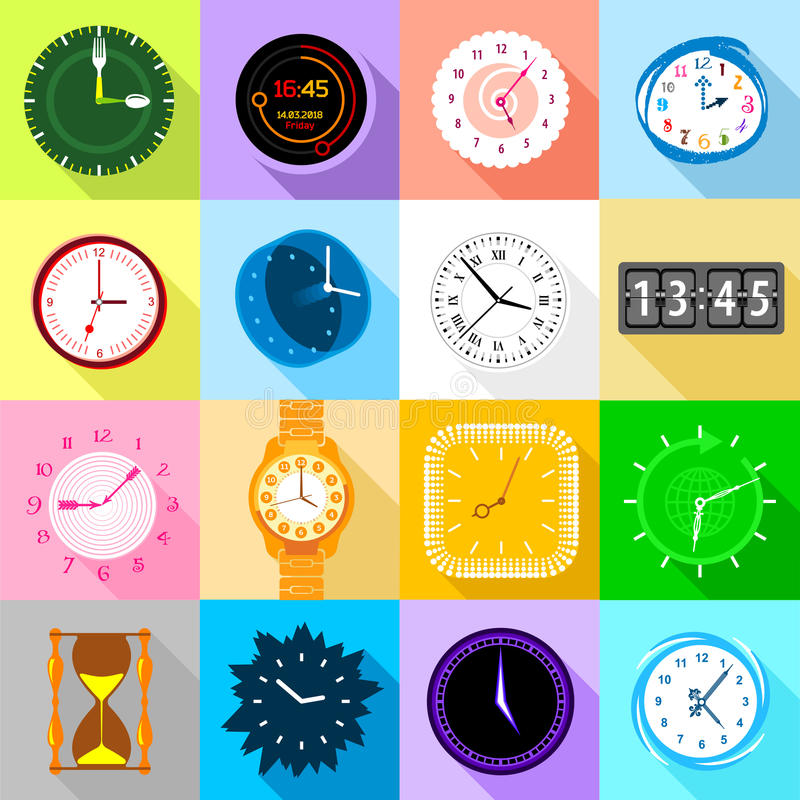 Clocks icons set colorful, flat style. Clocks icons set colorful. Flat illustration of 16 clocks icons set vector icons for web royalty free illustration