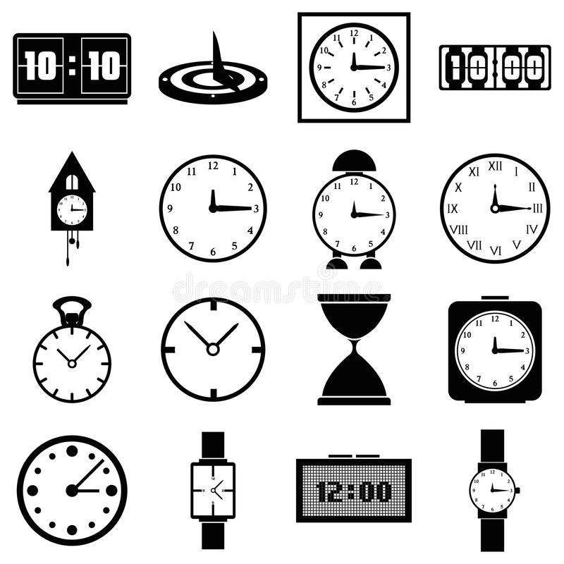 Clocks icons set, simple style. Clocks icons set. Simple illustration of 16 clocks vector icons for web royalty free illustration