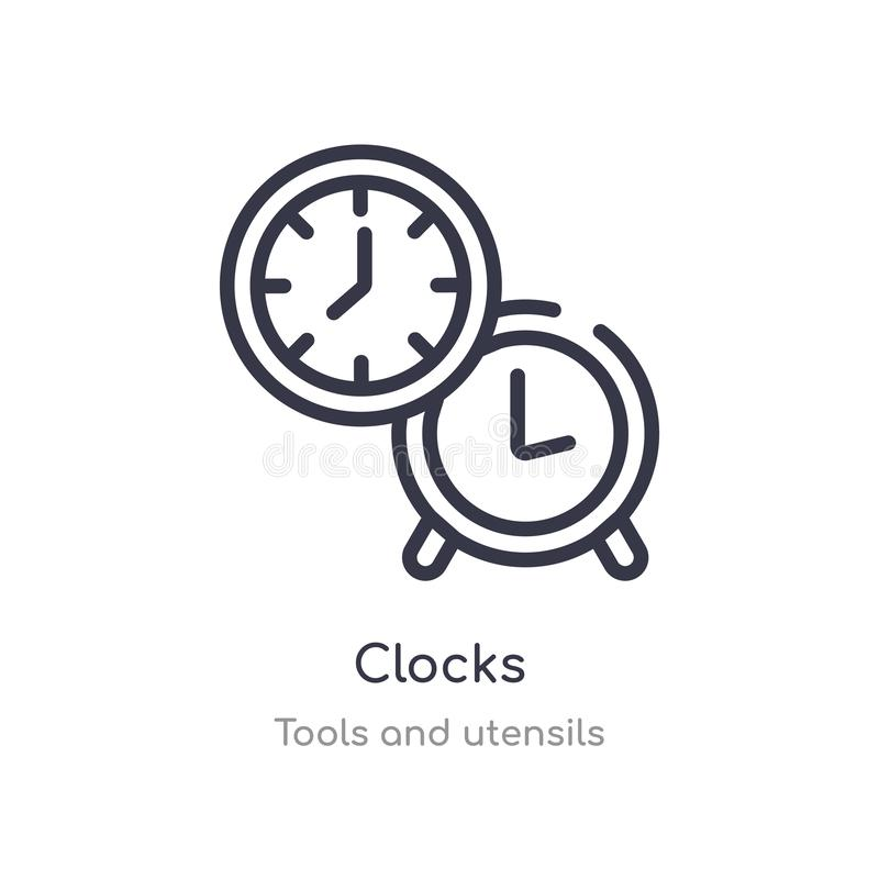 clocks outline icon. isolated line vector illustration from tools and utensils collection. editable thin stroke clocks icon on vector illustration