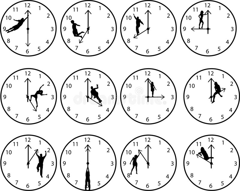 Clocks with people royalty free illustration
