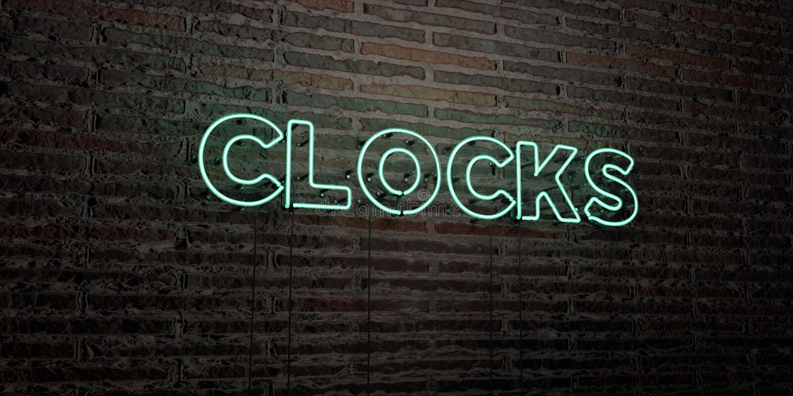 CLOCKS -Realistic Neon Sign on Brick Wall background - 3D rendered royalty free stock image. Can be used for online banner ads and direct mailers vector illustration