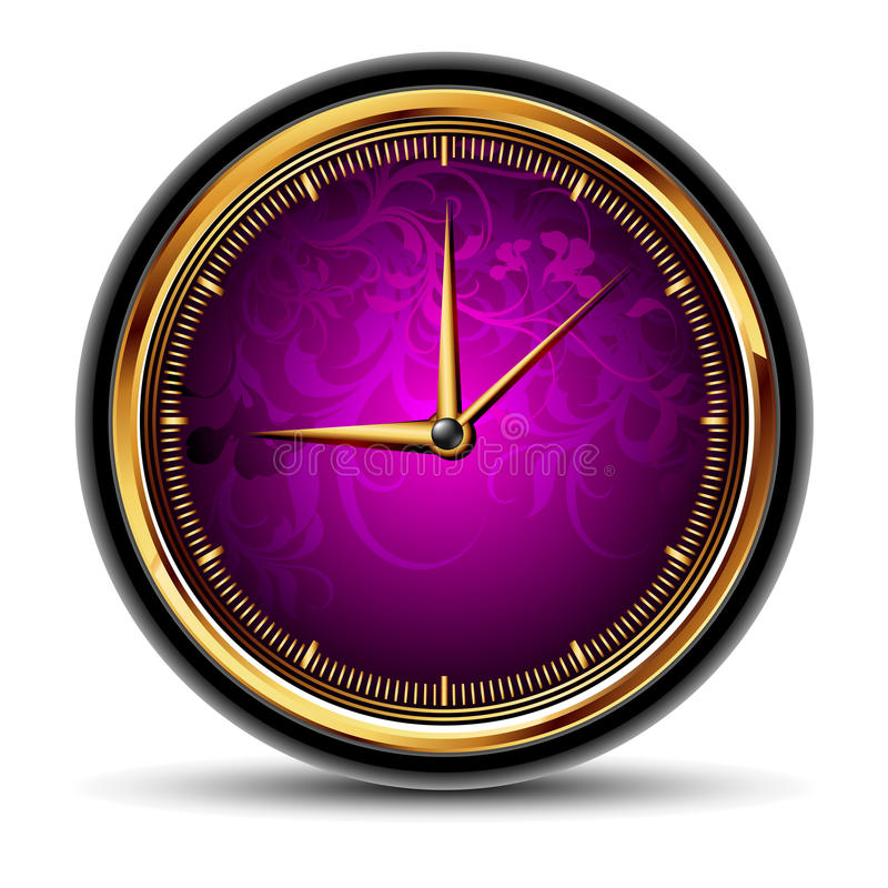 Clocks round. Round clocks with violet floral dial, this illustration may be useful as designer work vector illustration