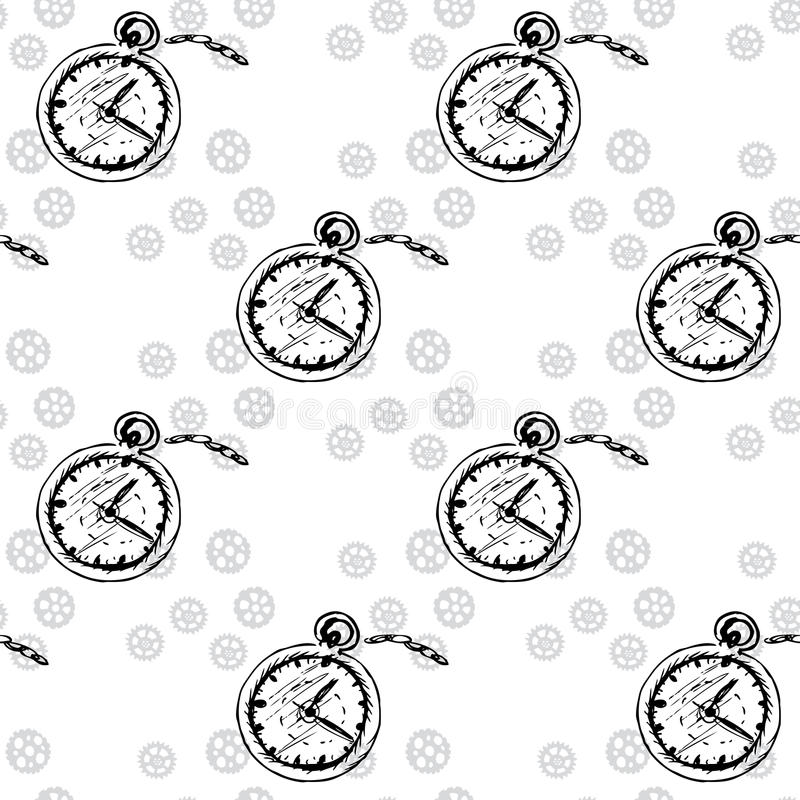 Clocks Seamless pattern with pocket watches and gears. Vector vector illustration
