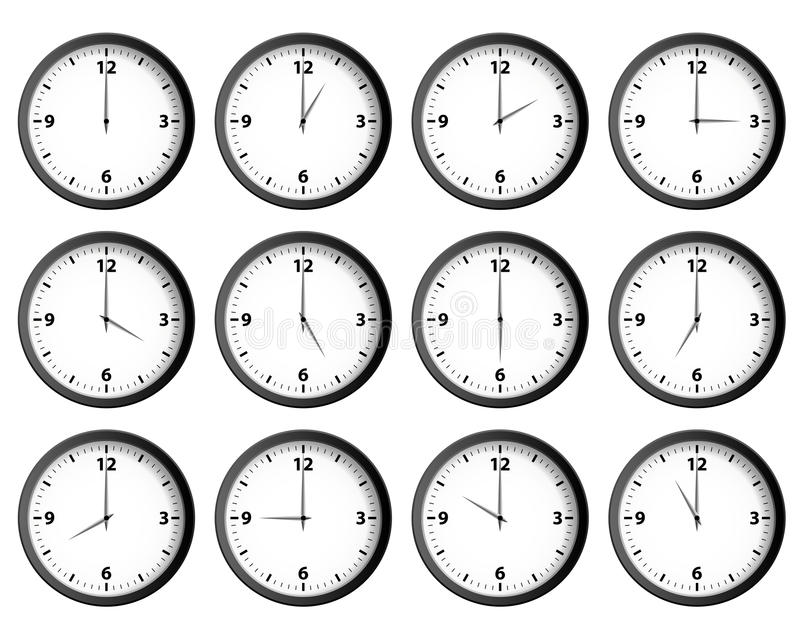 Clocks Set. Twelve clocks set at each hour vector royalty free illustration