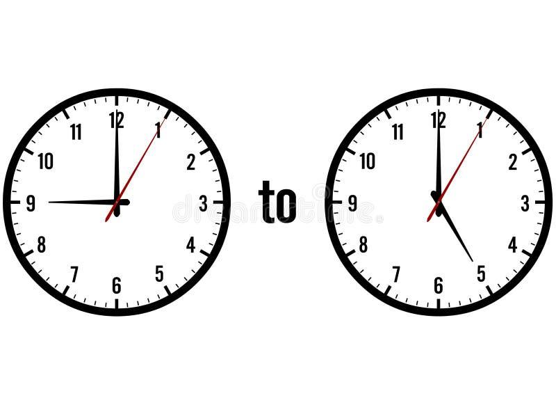 Clocks showing 9 to 5 royalty free illustration
