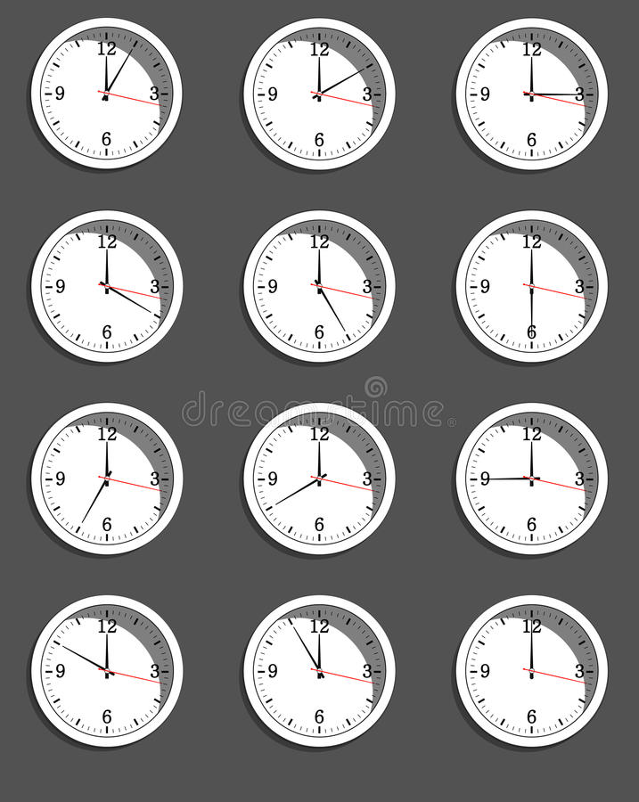 Clocks showing different time. Vector royalty free illustration