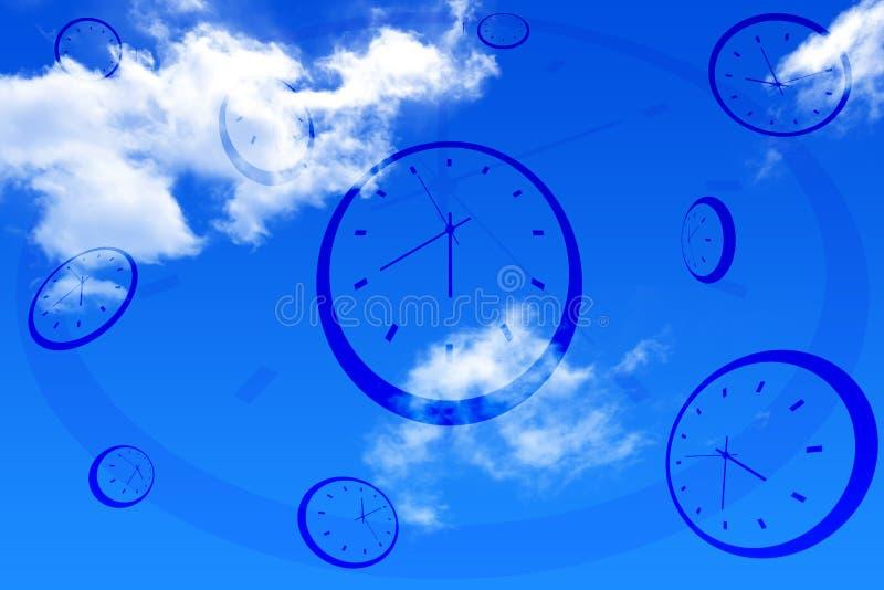 clocks skyen stock illustrationer